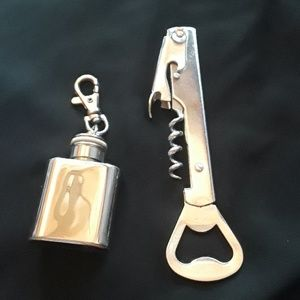 Corkscrew and mini flask keychain